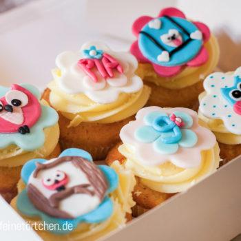 Eule Geburtstag Fondant Dekoration Mademoiselle Cupcake