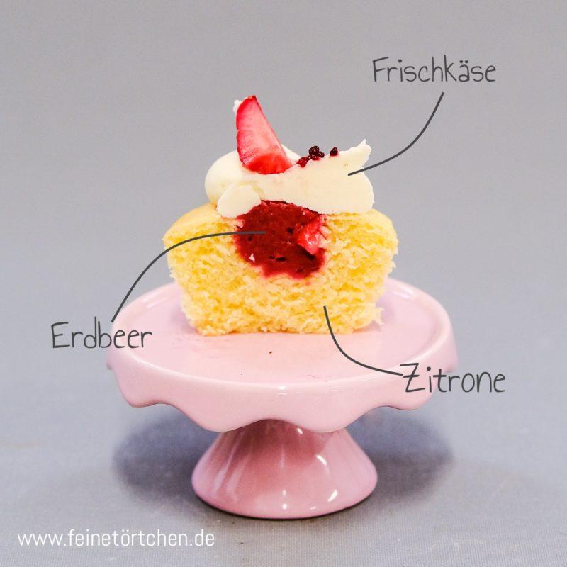 Zitrone Erdbeer Frischkäse Cupcake