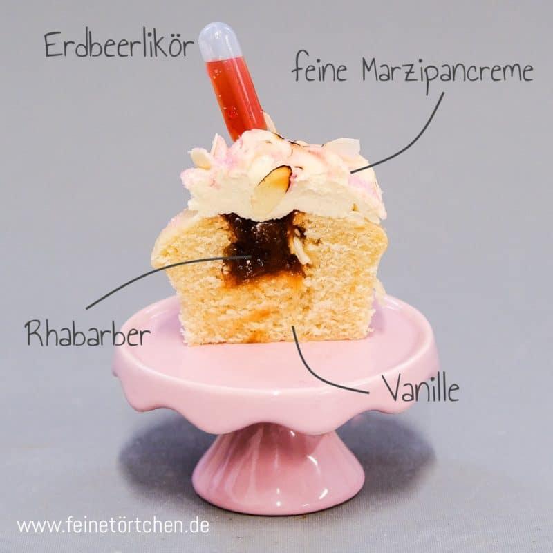 Rhabarber Marzipan Erdbeer Barbarella Cupcake